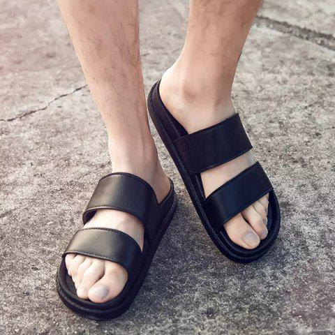 Trendy Faux Leather Double Strap Slippers - 44 BLACK Mobile
