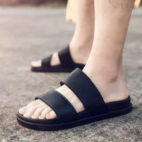 Hot Faux Leather Double Strap Slippers - 44 BLACK Mobile