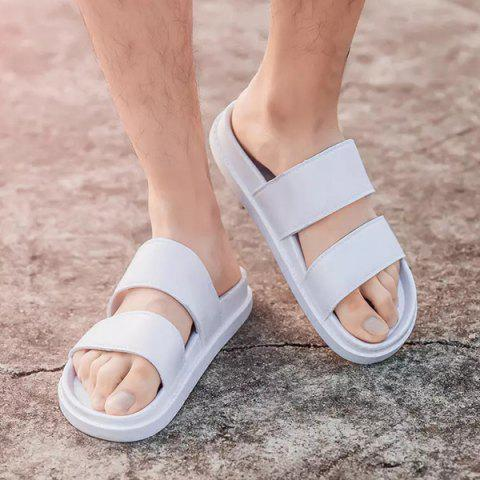 Buy Faux Leather Double Strap Slippers - 43 WHITE Mobile