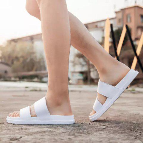 Online Faux Leather Double Strap Slippers - 44 WHITE Mobile