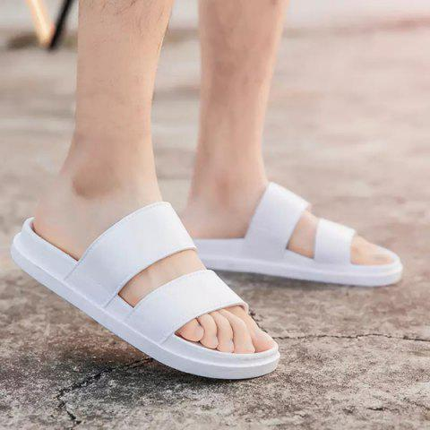 Online Faux Leather Double Strap Slippers - 42 WHITE Mobile