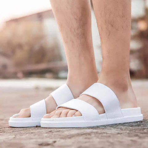 New Faux Leather Double Strap Slippers - 42 WHITE Mobile