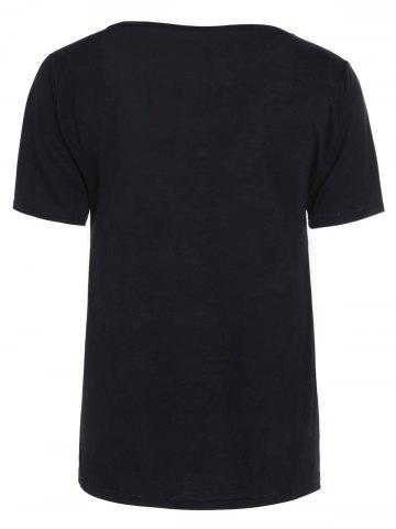 Store Casual Lace Up Cut Out T Shirt - M BLACK Mobile