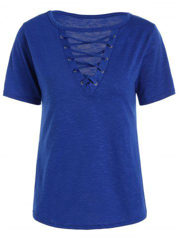 Trendy Casual Lace Up Cut Out T Shirt BLUE M