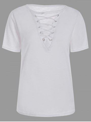 Shop Casual Lace Up Cut Out T Shirt - XL WHITE Mobile