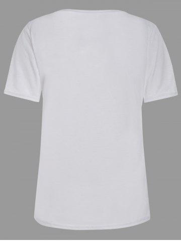 Sale Casual Lace Up Cut Out T Shirt - XL WHITE Mobile