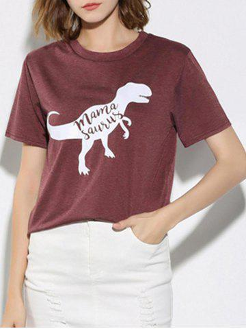 Discount Letter and Dinosaur Pattern Short Sleeve T-Shirt - S WINE RED Mobile