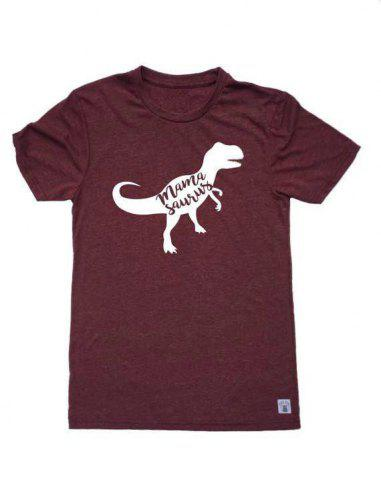 Outfit Letter and Dinosaur Pattern Short Sleeve T-Shirt - S WINE RED Mobile