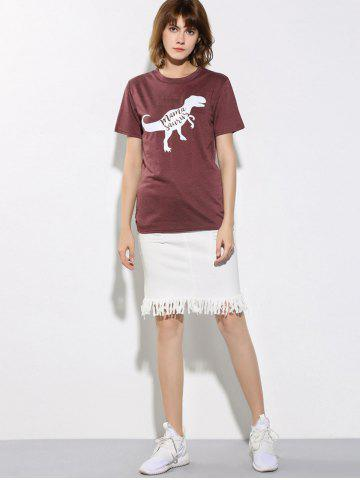 Cheap Letter and Dinosaur Pattern Short Sleeve T-Shirt - S WINE RED Mobile