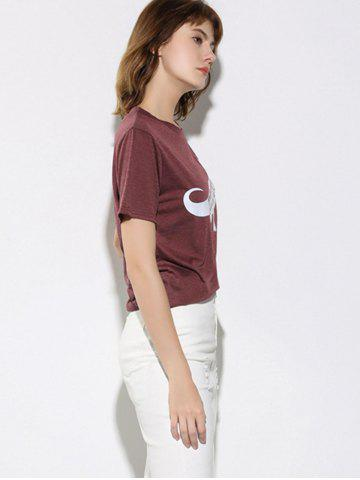 New Letter and Dinosaur Pattern Short Sleeve T-Shirt - S WINE RED Mobile