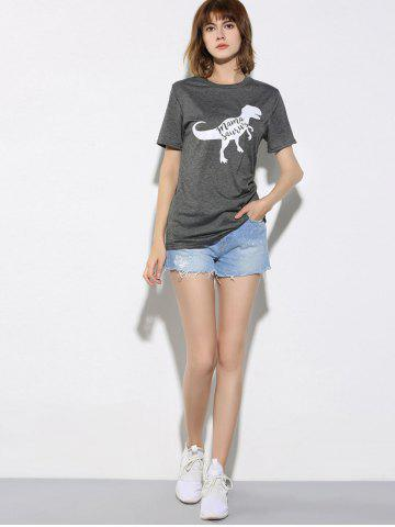 Outfits Letter and Dinosaur Pattern Short Sleeve T-Shirt - XL GRAY Mobile