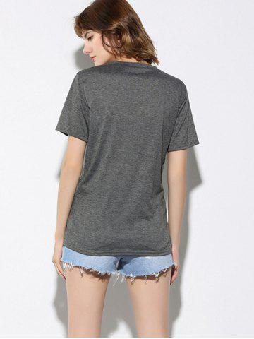 Discount Letter and Dinosaur Pattern Short Sleeve T-Shirt - XL GRAY Mobile