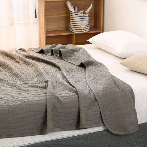 Best 100 Percent Long Stapled Cotton Bed Blanket - QUEEN DUSTY GREY Mobile