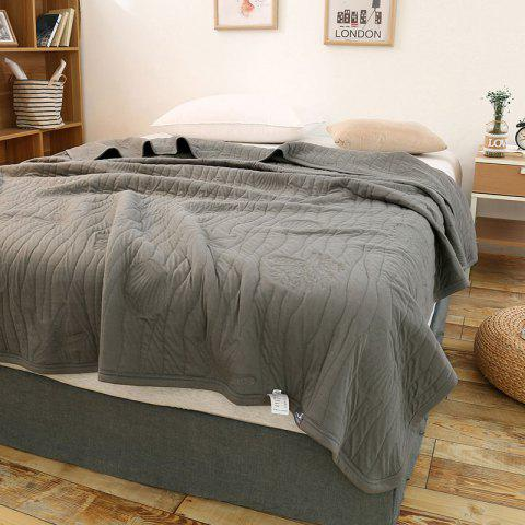 Cheap 100 Percent Long Stapled Cotton Bed Blanket - QUEEN DUSTY GREY Mobile