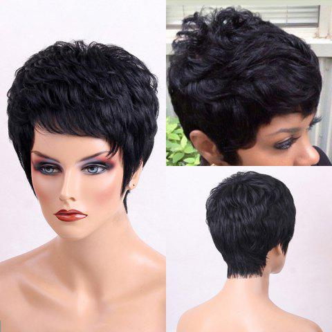 Trendy Side Bang Shaggy Layered Textured Short Slightly Curly Human Hair Wig JET BLACK