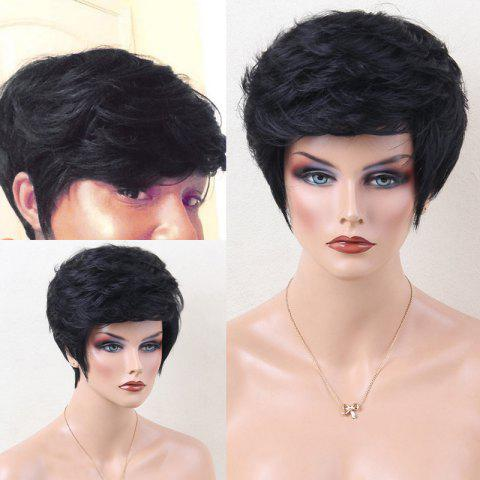 Hot Layered Shaggy Side Bang Short Slightly Curled Human Hair Wig JET BLACK