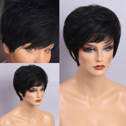 Best Inclined Bang Layered Short Natural Shaggy Slightly Curly Human Hair Wig JET BLACK
