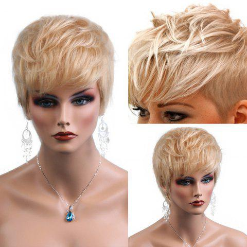 Fancy Short Inclined Bang Textured Layered Natural Straight Human Hair Wig - BLONDE  Mobile