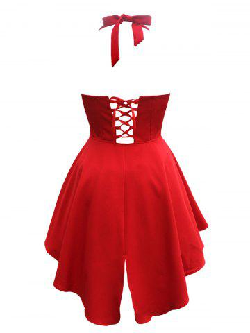 Lace Up Asymmetric Short Homecoming Vintage Dress