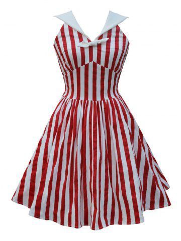 Backless Sailor Collar Striped Pin Up Dress Rouge M