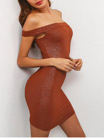 Cheap Off The Shoulder Mini Bodycon Dress BROWN L