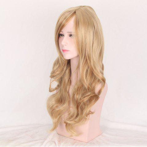 Cheap Colormix Side Bang Layered Long Wavy Party Synthetic Wig - BROWN AND GOLDEN  Mobile