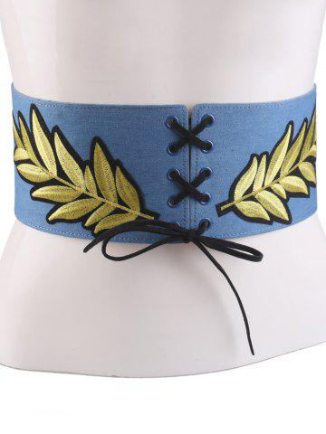 Discount Leaf Embroidered Lace Up Wide Corset Belt - LIGHT BLUE  Mobile