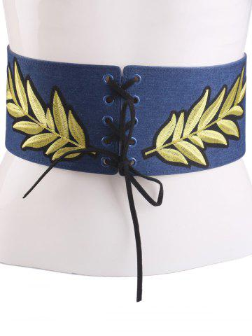 Outfits Leaf Embroidered Lace Up Wide Corset Belt CERULEAN