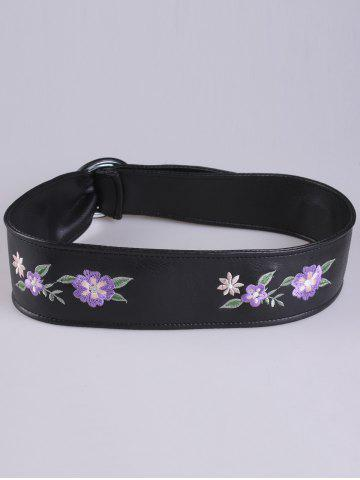 Best Floral Embroidered Faux Leather Round Buckle Belt - PURPLE  Mobile