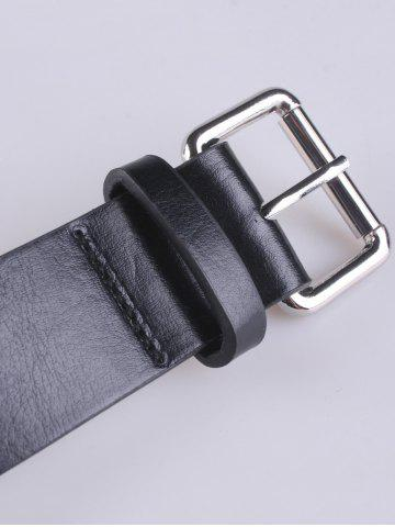 Shops Hollow Out Punk Rivet Faux Leather Belt - BLACK  Mobile