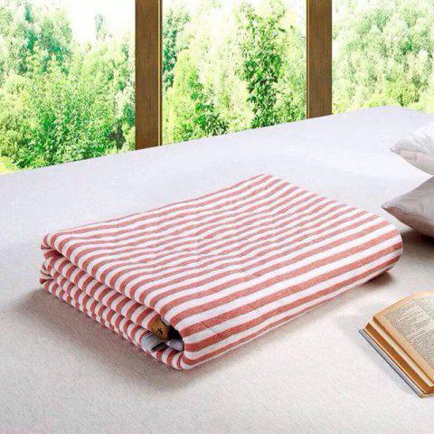 Cheap 100 Percent Striped Long Stapled Cotton Blanket - FULL RED Mobile