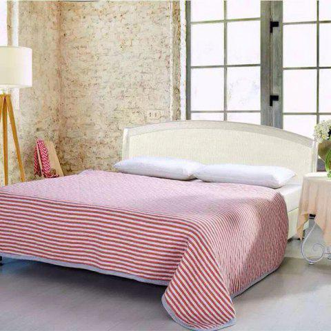 Unique 100 Percent Striped Long Stapled Cotton Blanket - FULL RED Mobile