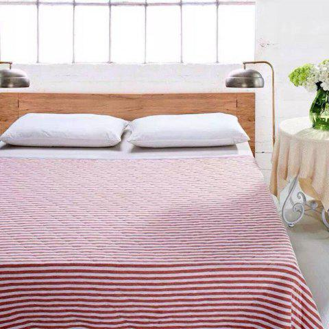 Best 100 Percent Striped Long Stapled Cotton Blanket - FULL RED Mobile