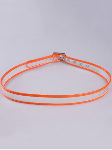 Trendy Pin Buckle Candy Color Brim Transparent Belt - ORANGE  Mobile