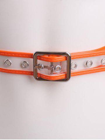 Outfits Pin Buckle Candy Color Brim Transparent Belt - ORANGE  Mobile