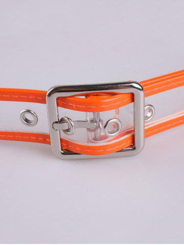 Cheap Pin Buckle Candy Color Brim Transparent Belt - ORANGE  Mobile