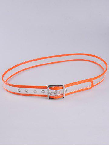 New Pin Buckle Candy Color Brim Transparent Belt - ORANGE  Mobile