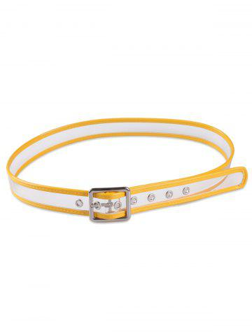 Trendy Pin Buckle Candy Color Brim Transparent Belt - YELLOW  Mobile