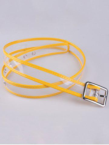 Cheap Pin Buckle Candy Color Brim Transparent Belt - YELLOW  Mobile