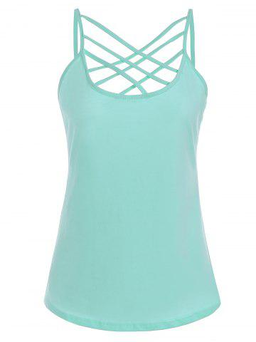 Cut Out Criss Cross Slip Top - Green - Xl