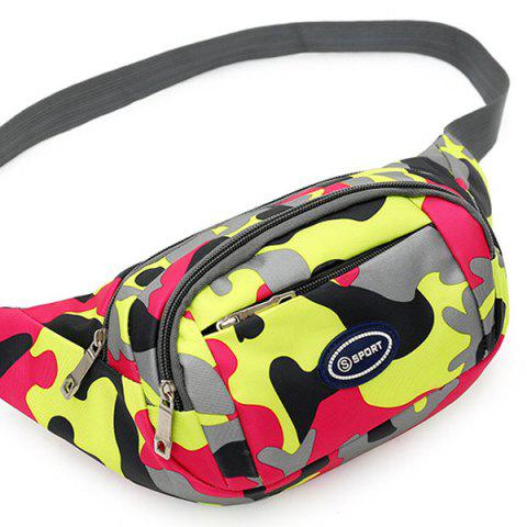 Outfits Camo Print Nylon Waist Bag - RED  Mobile