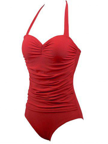 Fancy Halter Underwire Retro Swimsuit - 2XL RED Mobile