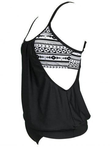 Cheap Cut Out Blouson Tankini Set - L BLACK Mobile