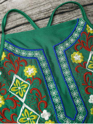 Shop Cross Back High Neck Embroidered Swimsuit - S GREEN Mobile