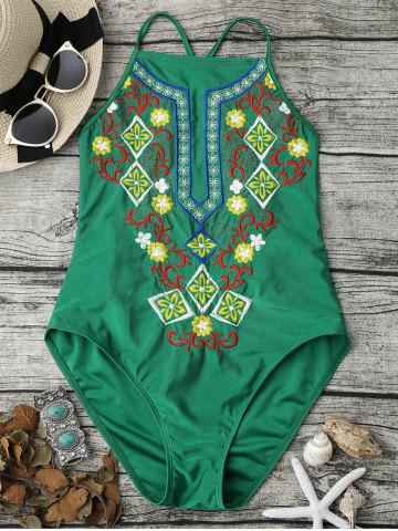 Fancy Cross Back High Neck Embroidered Swimsuit - S GREEN Mobile