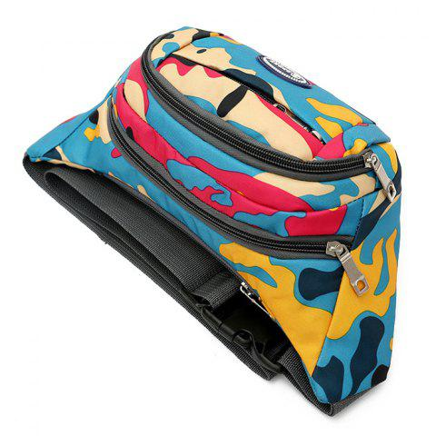 Discount Camo Print Nylon Waist Bag - LAKE BLUE  Mobile