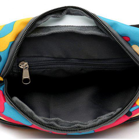Sale Camo Print Nylon Waist Bag - LAKE BLUE  Mobile
