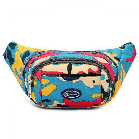 Shops Camo Print Nylon Waist Bag - LAKE BLUE  Mobile