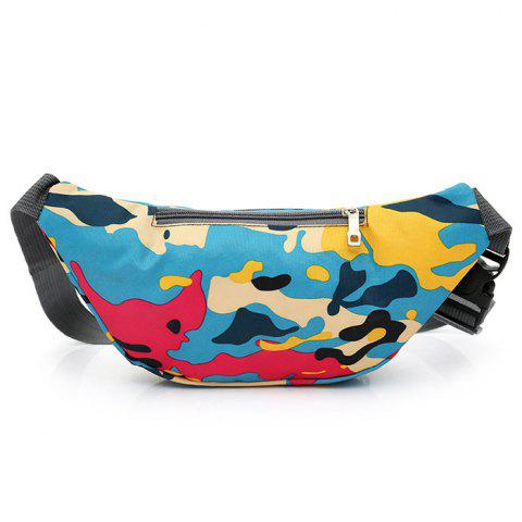 Chic Camo Print Nylon Waist Bag - LAKE BLUE  Mobile
