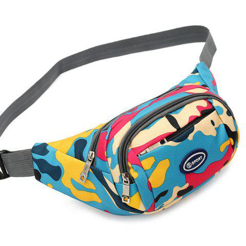Affordable Camo Print Nylon Waist Bag - LAKE BLUE  Mobile